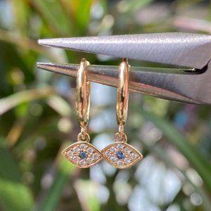 14K Gold Dainty Evil Eye Charm Earrings